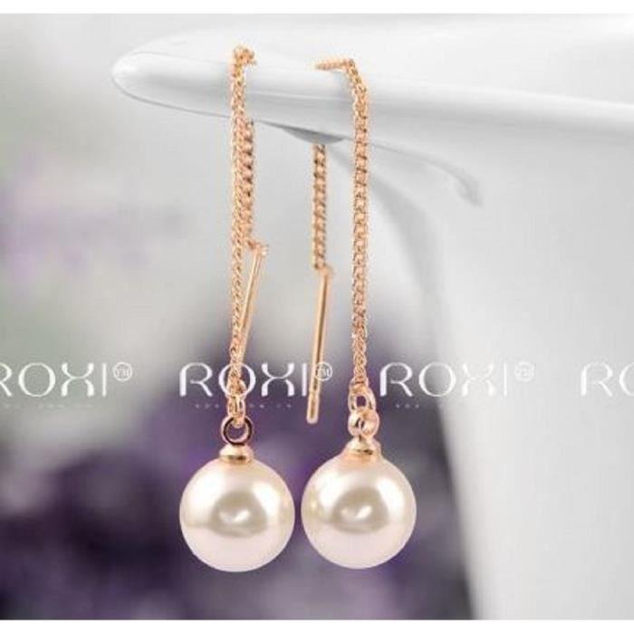 Boucles d'Oreilles Pendantes Perle Nacrée sur Chaine