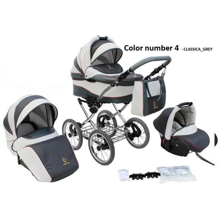 Poussette/Landau avec siège-auto 3en1 et avec accessoires & cadre en chrome et roues 14- gonflables bébé enfant Classica - Grise.