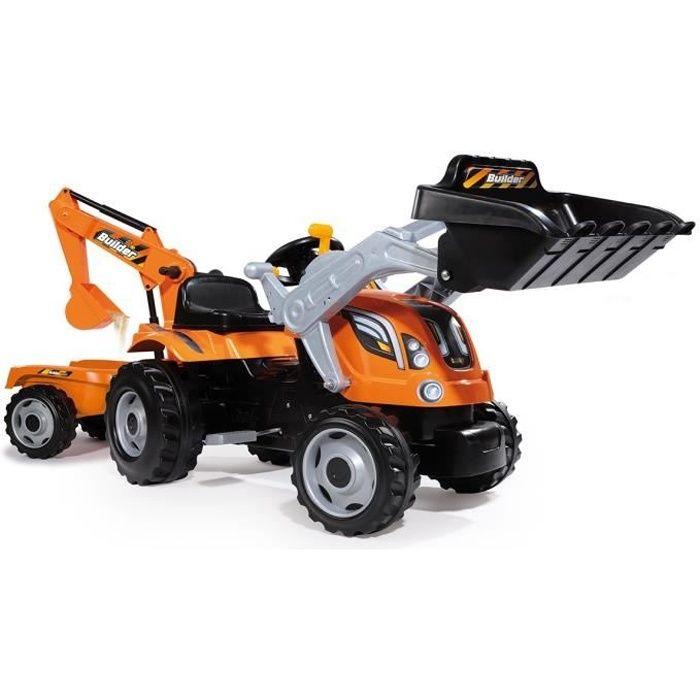 SMOBY Tracteur à pédales Builder Max + Remorque