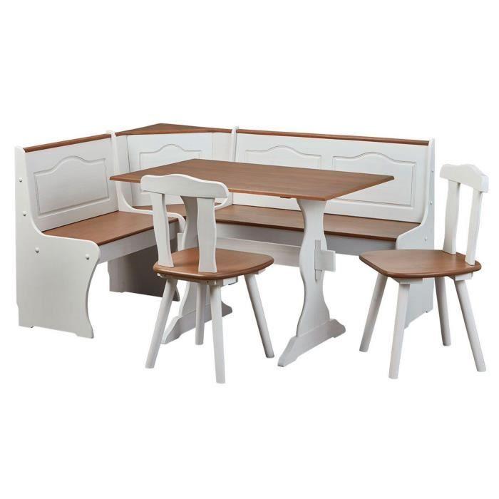 TABLE À MANGER COMPLÈTE Bidart - Angle Repas Complet Bois Massif et Blanc