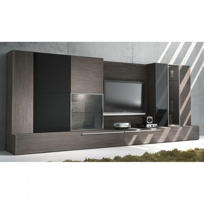 meuble mural tv fusion couleur marron mati re m achat. Black Bedroom Furniture Sets. Home Design Ideas