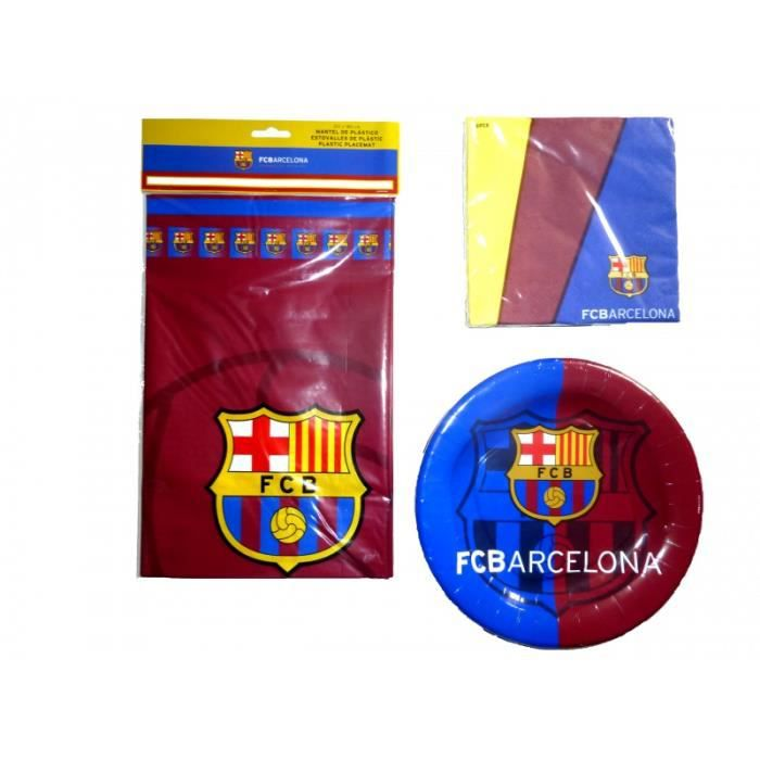 kit anniversaire fc barcelone set assiettes jetables serviettes et nappe pour 8 enfants gar ons. Black Bedroom Furniture Sets. Home Design Ideas