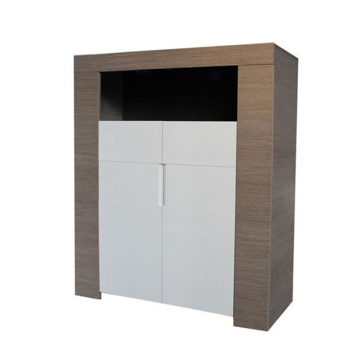 buffet haut laqu blanc et ch ne gris achat vente. Black Bedroom Furniture Sets. Home Design Ideas