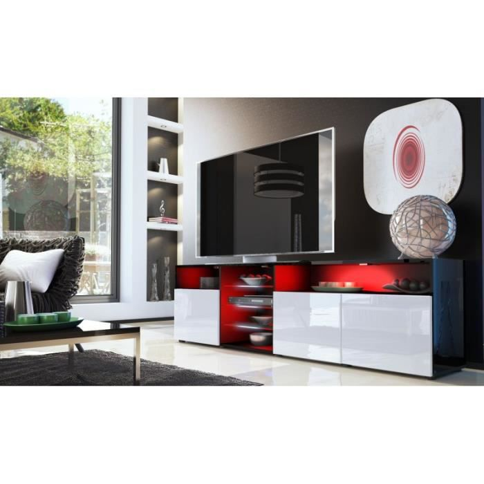 meuble bas tv noir blanc 194 cm achat vente meuble tv meuble bas tv noir blanc 194. Black Bedroom Furniture Sets. Home Design Ideas