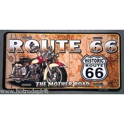plaque d 39 immatriculation us route 66 moto mother road tole metal d co bar lp4670 achat vente. Black Bedroom Furniture Sets. Home Design Ideas