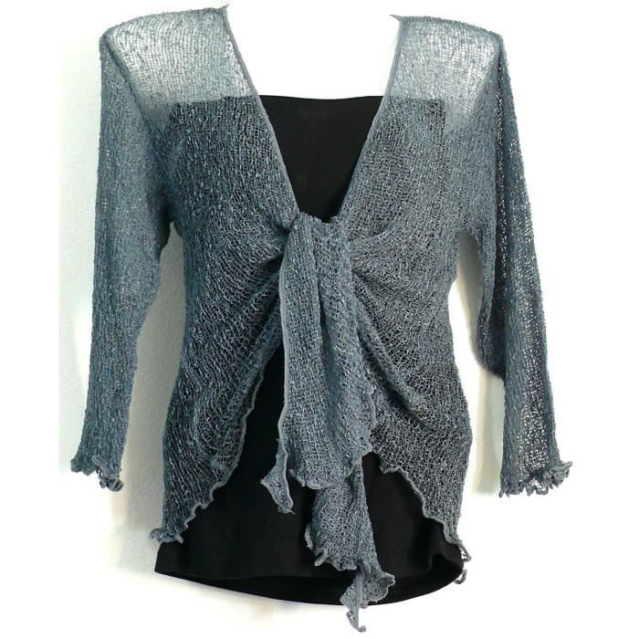 bolero gris gilet cache coeur cardigan pull gris achat. Black Bedroom Furniture Sets. Home Design Ideas