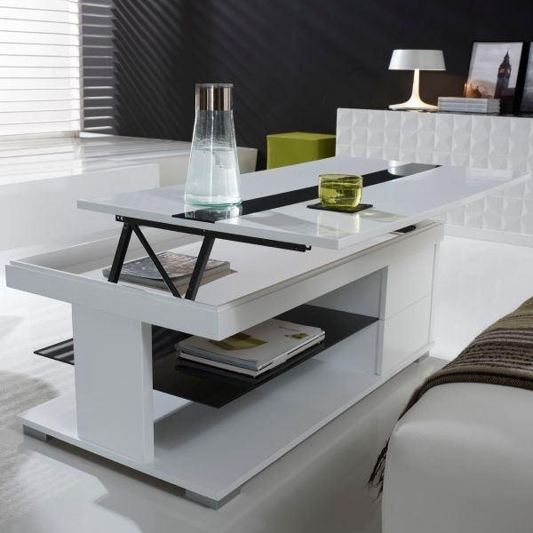 Table basse design relevable laqu blanc avion achat - Table relevable design ...