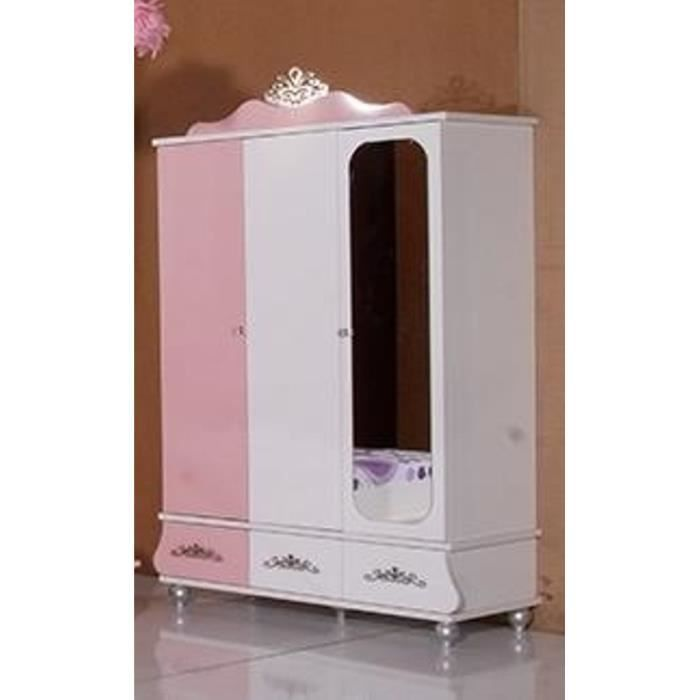 armoire princesse 3 portes avec miroir pour chambre de. Black Bedroom Furniture Sets. Home Design Ideas