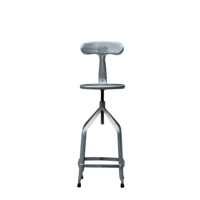 tabouret de bar r glable industriel m tal marx couleur gris galva achat vente tabouret de. Black Bedroom Furniture Sets. Home Design Ideas