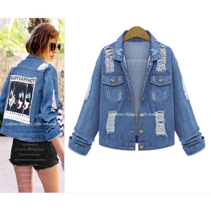 veste femme blouson jacket femme grande taille en jean. Black Bedroom Furniture Sets. Home Design Ideas