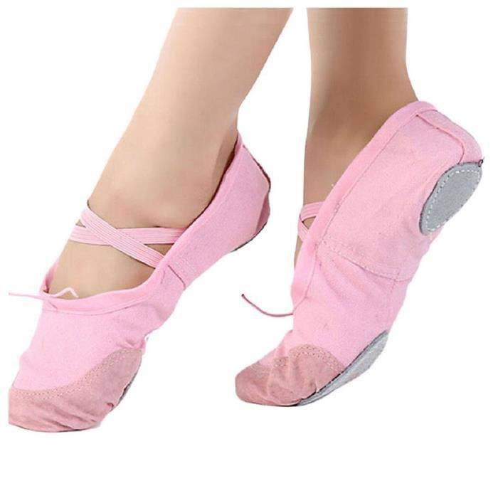 1 pair Leather+Canvas Adult Ballet Dance Shoes Tip Gymnastics Slippers (EU 38 (Asia 39), Pink)