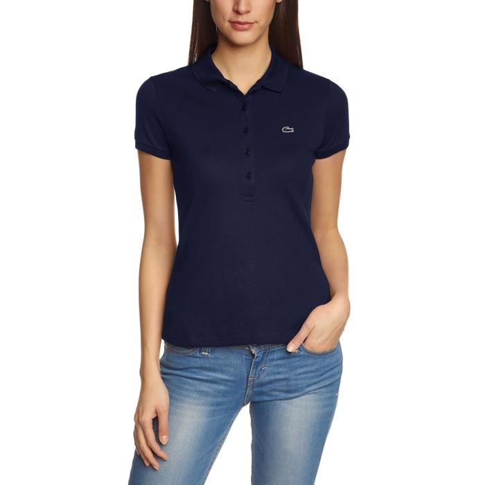 lacoste femme polo manches courtes skinny fit bleu marine achat vente polo cdiscount. Black Bedroom Furniture Sets. Home Design Ideas