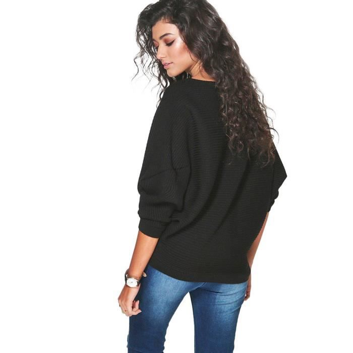 Femmes Chauve-souris Manches Mailles Pull Pull Pull Mailles à boutons