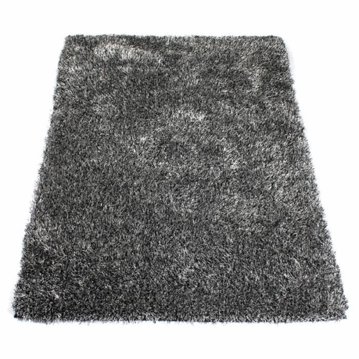 tapis shaggy noir et blanc achat vente tapis cdiscount. Black Bedroom Furniture Sets. Home Design Ideas