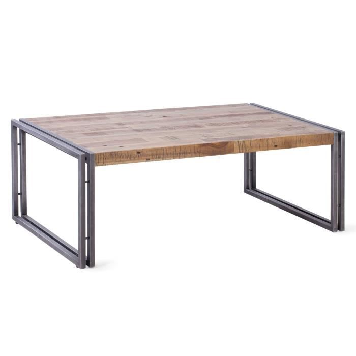 Table basse style industriel en m tal et mdf plaqu pin - Table basse en acacia ...