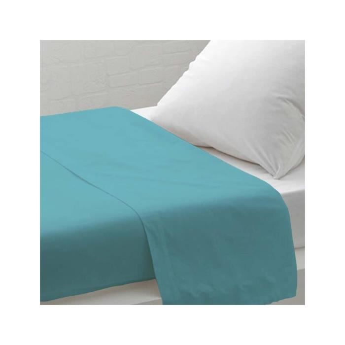 drap plat uni 180x290 cm atmo turquoise achat vente drap plat cdiscount. Black Bedroom Furniture Sets. Home Design Ideas