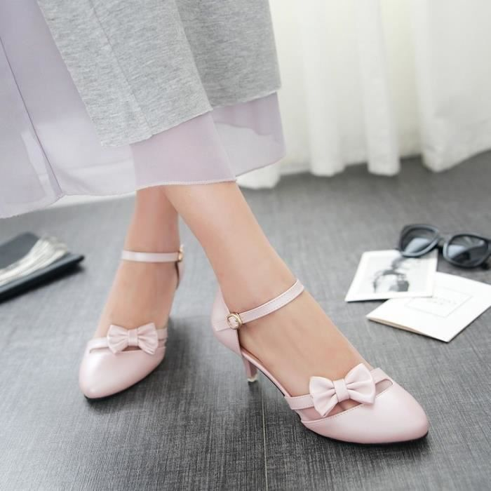 talons hauts-Pure Color Heel Thin Low Heel Femm... waQIFFhmj