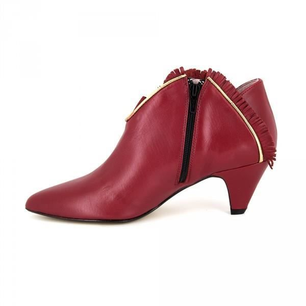 Bottine Pierre Cardin Cuir Rouge PC1610MO- Couleur - Rouge