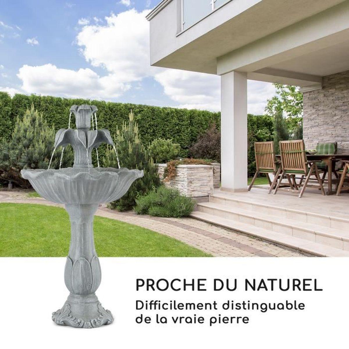 Bassin De Jardin Design Zen blumfeldt floreal fontaine de jardin en polyrésine - décoration zen pour  intérieur ou extérieur - pompe 6w - ipx8 - aspect pierre