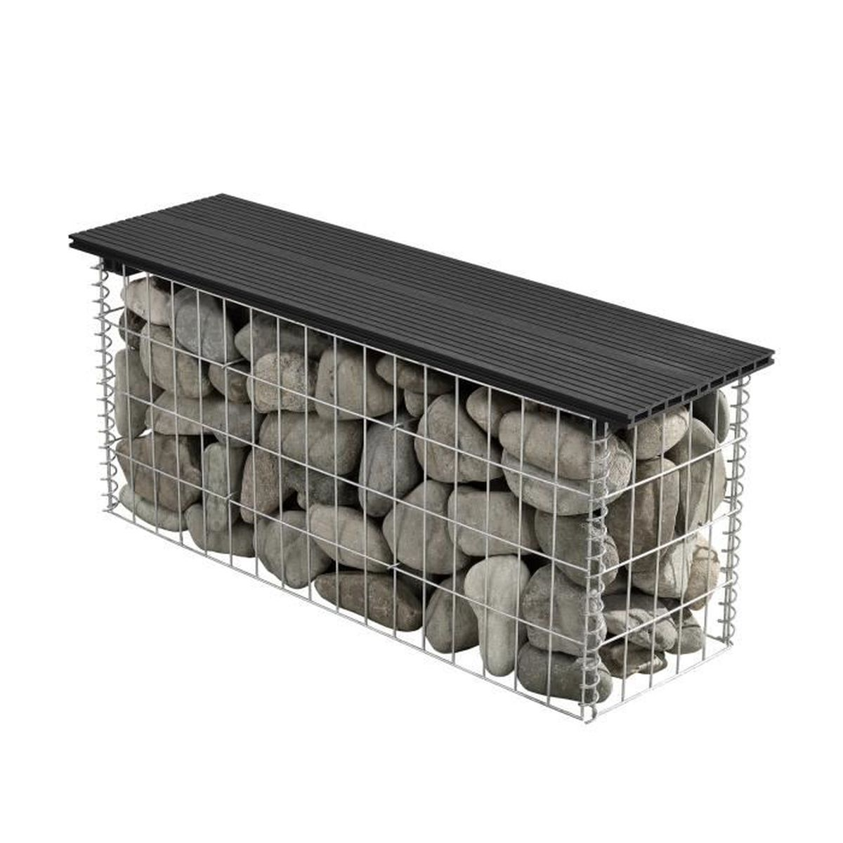 wpc banc du jardin gabion noir achat vente pierre. Black Bedroom Furniture Sets. Home Design Ideas