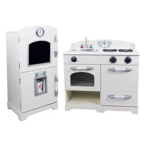 DINETTE - CUISINE Jeu de cuisine enfant en bois dinette blanche pour