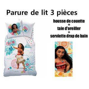 HOUSSE DE COUETTE SEULE VAIANA DISNEY - Pack 3 pièces parure de lit housse