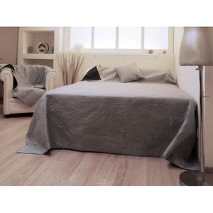 couvre lit microfibre 220x240 cm orchidee couleur gris achat vente jet e de lit boutis. Black Bedroom Furniture Sets. Home Design Ideas