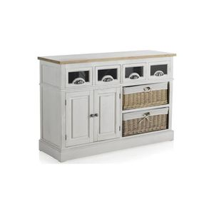 vitrine pin blanc 4 tiroirs 2 caisses osier 2 portes creno achat vente vitrine argentier. Black Bedroom Furniture Sets. Home Design Ideas