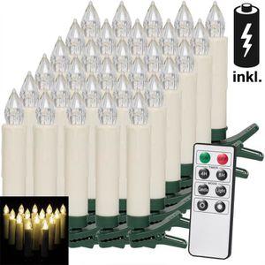 GUIRLANDE DE NOËL Deuba 30 Bougies LED à Clips pour Sapin sans Fil a