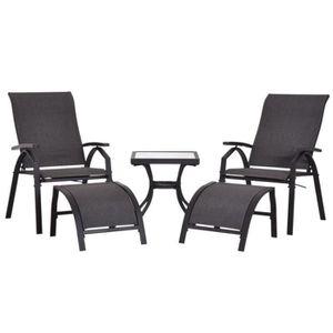 SALON DE JARDIN  Ensemble salon de jardin 5 pièces : 2 chaises long