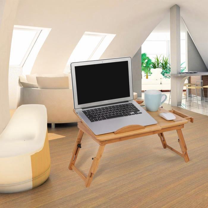 Vendu par LeDivil-Bureau de tour de lit, ordinateur portable, support réglable, table de lit, pliable, dortoir, bambou, fleurs