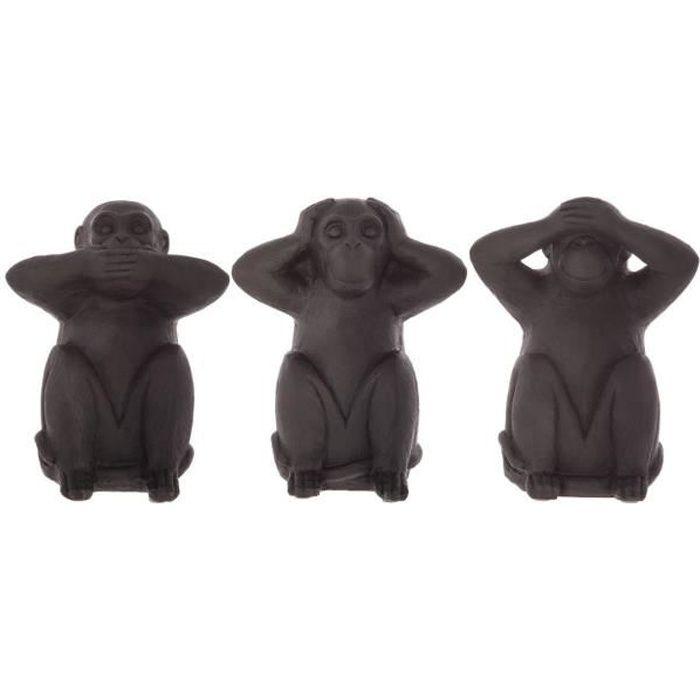 Atmosphera - Lot de 3 singes sagesse en résine H23 L, 19,5 x l, 14 x H, 24 cm Noir