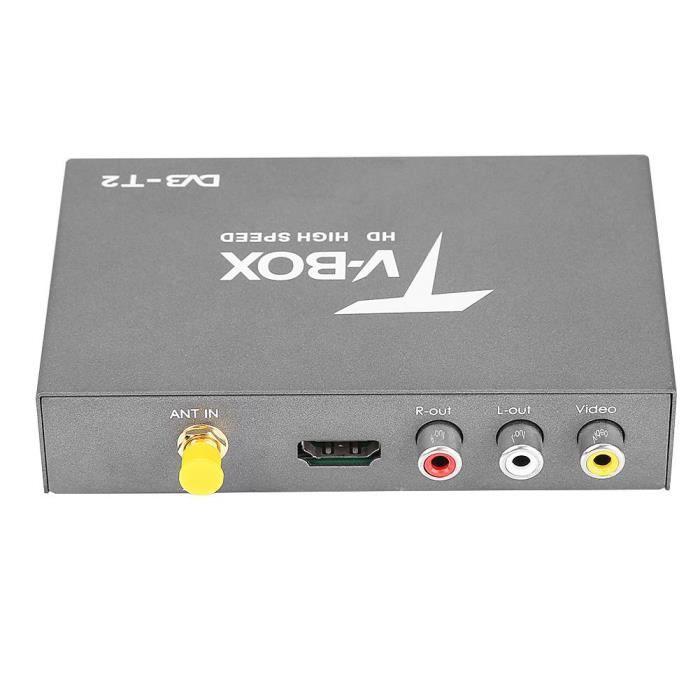 Boîte de télé numérique de voiture Récepteur Box TV mobile 1080P HD DVB-T2 avec tuner d'antenne à télécommande-LAV