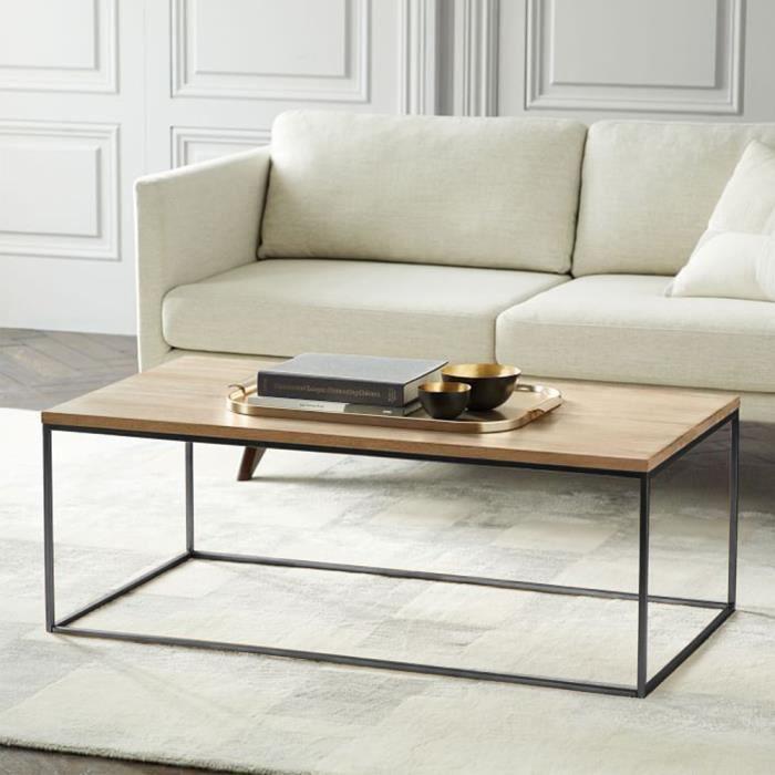 YIS Table Basse Armature en Métal et Grand Plateau en bois, Table de Salon Industriel est Combinaison vintage et moderne 113x60x45cm