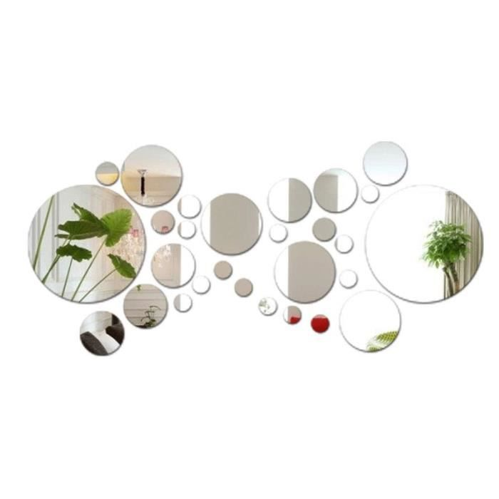 28pcs Stickers Muraux Miroirs Rond Décoratifs Cercle Miroir Autocollant 3D Acrylique Deco Mural Amovible(Dia:2-13.5cm)