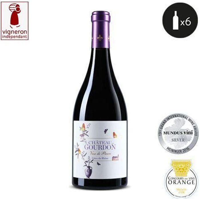 6 bouteilles - Vin rouge - Tranquille - Château de Gourdon Vase de Pierre Côtes du Rhône Rouge 2018 6x75cl
