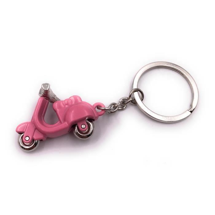 Onwomania porte-clés scooter rose scooter véhicule trafic routier pendentif en métal charme