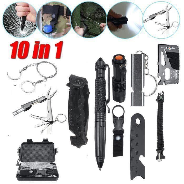 10 en 1 Kit de Survie d'urgence Multi-outils SOS Pr Randonnée FR71973