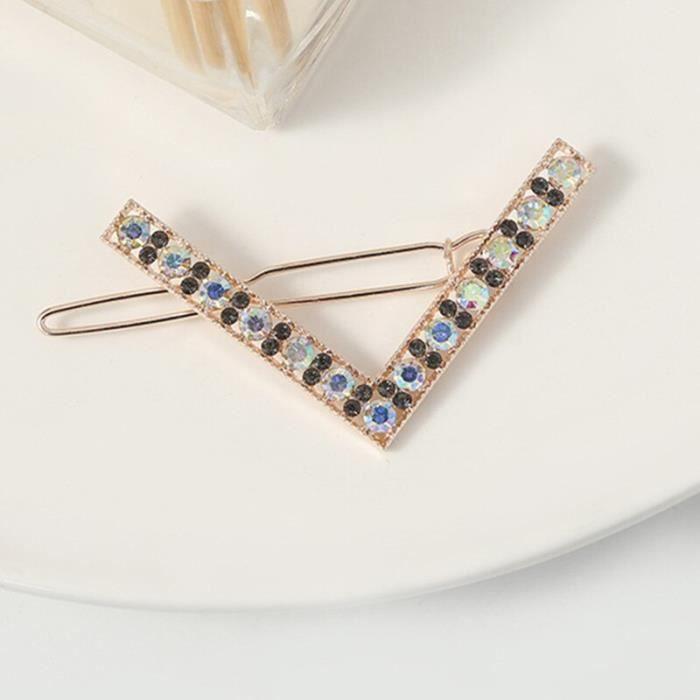 Mode pince à cheveux épingle métal géométrique cristalhairband cercle Hairgrip en forme de V Barrette filles s DY8327