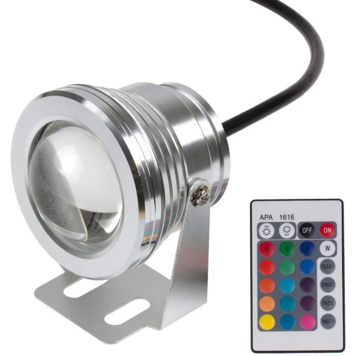 Youool Lumière piscine sous-marine à LEDIP65 10W RGB Télécommande colorée à LED Fontaine sous-marine Lumière Spotlight Lampe à 1416