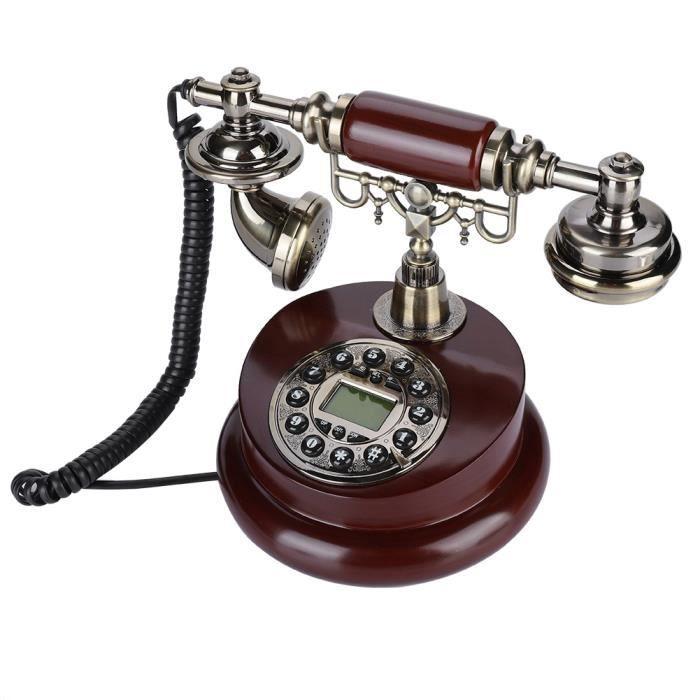 Téléphone antique, maison rétro vintage filaire filaire bureau téléphone ligne fixe téléphone alimenté pour