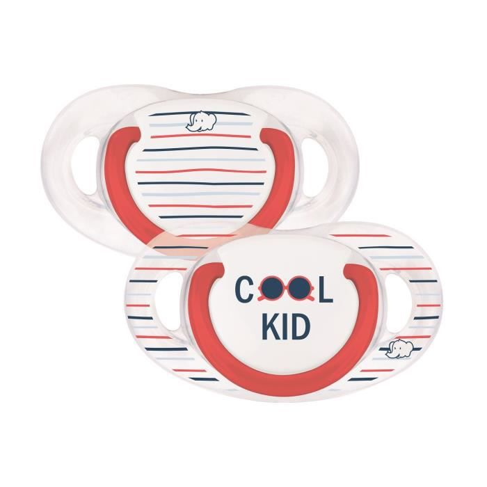 BEBE CONFORT Sucette natural physio silicone - Cool kid rebel rules - 18 / 36 mois - Lot de 2