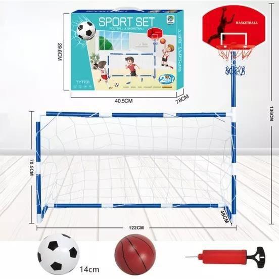 Cage de Football but de football avec Panier de basket Entraînement Jouet Set de sport intérieur et extérieurpour enfants