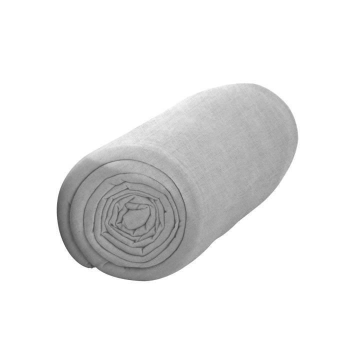TODAY Drap housse 100% coton - 140 x 190 cm - Zinc (Lot de 2)