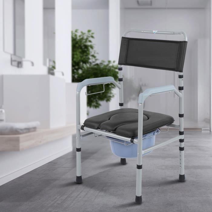 Chaise percée pour adulte Chaise toilette Hauteur réglable avec couvercle commode pliante en Alliage d'aluminium -VQU