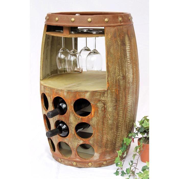 DanDiBo Casier à vin Tonneau à vin 1681 Bar Porte-bouteilles 69cm Etagère pour 18 bts. Tonneau Tonneau en bois