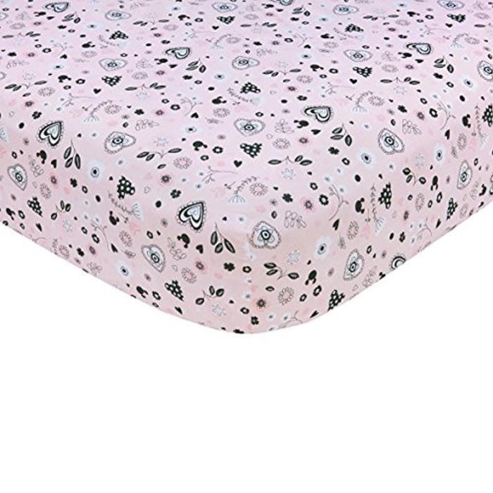 Drap Plat Lit Bebe DISNEY Minnie Mouse Hello Gorgeous Crib Sheet, Pink-Black-White OW45S