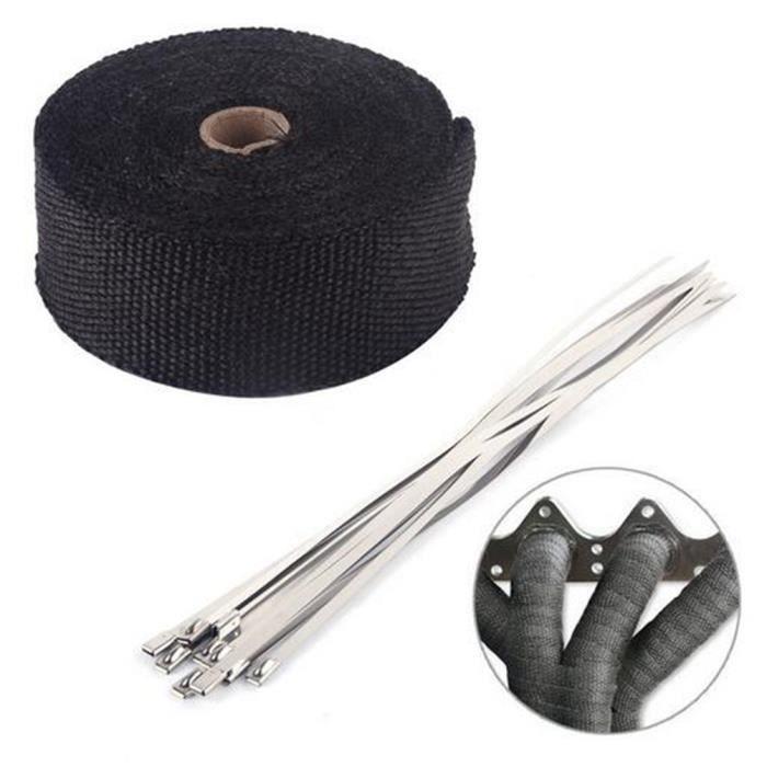 10M Noir Bande Thermique Isolante Avec 10 Colliers Collecteur Echappement Tube