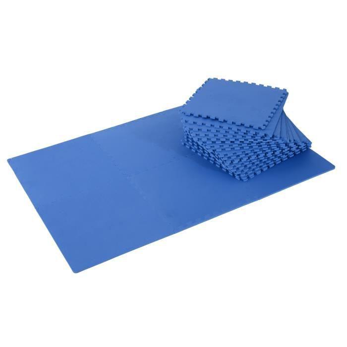 Tapis interconnectables en mousse 62 cm x 62 cm x 13 mm avec bordures tapis puzzle 25 pièces 9,3 m² de surface bleu neuf 11BU