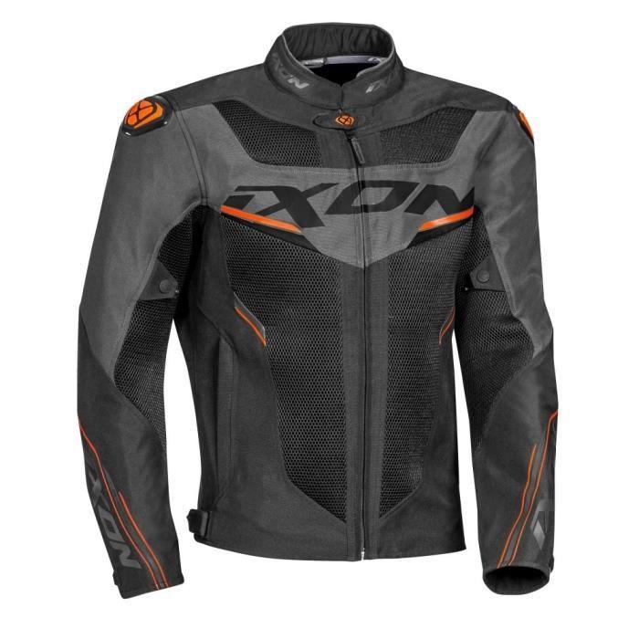 IXON Blouson moto Draco - Noir, Gris anthracite et Orange